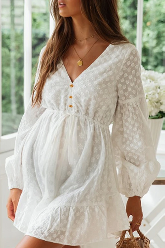 Maternity Sexy V-Neck Button Lace-Up Casual Dress