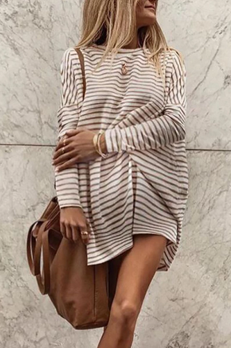Maternity Fashion Round Neck Striped Casual Dress