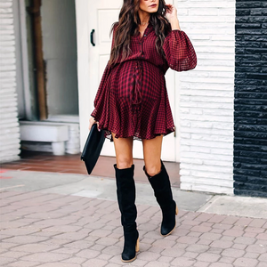 Maternity Casual Turndown Collar Plaid Bishop Sleeve Belted Dress
