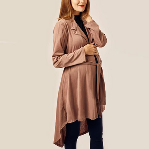 Maternity Fold Over Collar Asymmetric Hem Belt Loops Plain Trench Coat