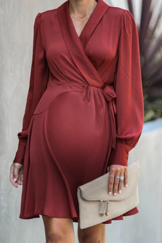 Maternity Fashion Solid Color Lace Up Casual Dress