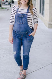 Maternity Fashion Casual  Denim Pockets Jumpsuits
