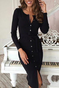 Maternity Casual V-neck Grey Long-sleeved Button Split Bodycon Dress