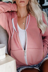 Maternity Leisure Pure Color Zipper Coat