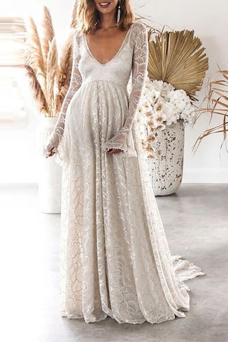 Maternity Sexy Deep V Solid Color Long Sleeve Open Back Maxi Dress