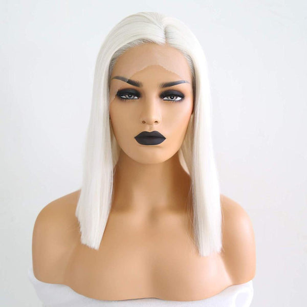 Bob Wig, Synthetic Wig, Short Blonde Hair, Straight Bob Lace Front Wig-Wig-online-12inches-hair-extensions-wigs.com