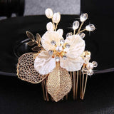 Crystal Pearls Wedding Hair Clips-Hair Clips-online-HS-J3110-G-hair-extensions-wigs.com