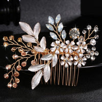 Crystal Pearls Wedding Hair Clips-Hair Clips-online-HS-J4217-G-hair-extensions-wigs.com