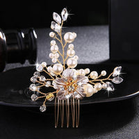 Crystal Pearls Wedding Hair Clips-Hair Clips-online-HS-J4412-G-hair-extensions-wigs.com