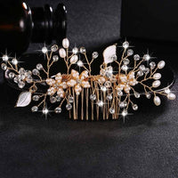 Crystal Pearls Wedding Hair Clips-Hair Clips-online-HS-J4497-G-hair-extensions-wigs.com