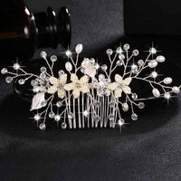 Crystal Pearls Wedding Hair Clips-Hair Clips-online-HS-J4497-S-hair-extensions-wigs.com