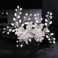 Crystal Pearls Wedding Hair Clips-Hair Clips-online-HS-J4539-S-hair-extensions-wigs.com
