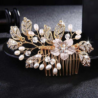 Crystal Pearls Wedding Hair Clips-Hair Clips-online-HS-J4540-G-hair-extensions-wigs.com