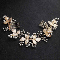 Crystal Pearls Wedding Hair Clips-Hair Clips-online-HS-J5403-G-hair-extensions-wigs.com