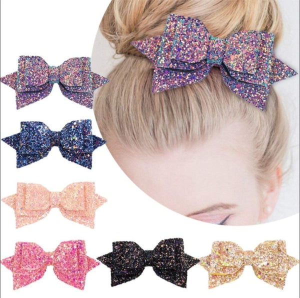 Glitter Bow Hair Clips-Hair Clips-online-hair-extensions-wigs.com