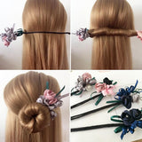Hair Bun Maker, Floral Ribbon Hair Bun Maker-Hair Bun Maker-online-hair-extensions-wigs.com