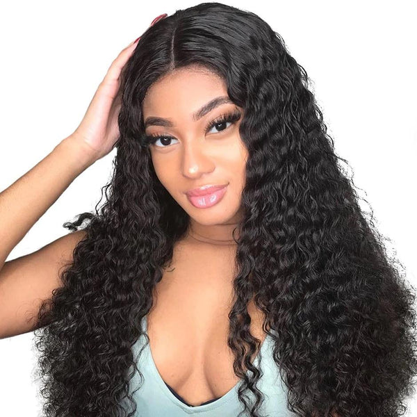 Human Hair Wig, Kinky Curly Lace Front Wigs, 150% Density-Wig-online-Natural Color-hair-extensions-wigs.com