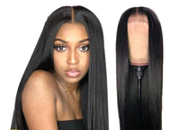Human Hair Wig, Straight Lace Front Wig, Black-Wig-online-26inches-hair-extensions-wigs.com