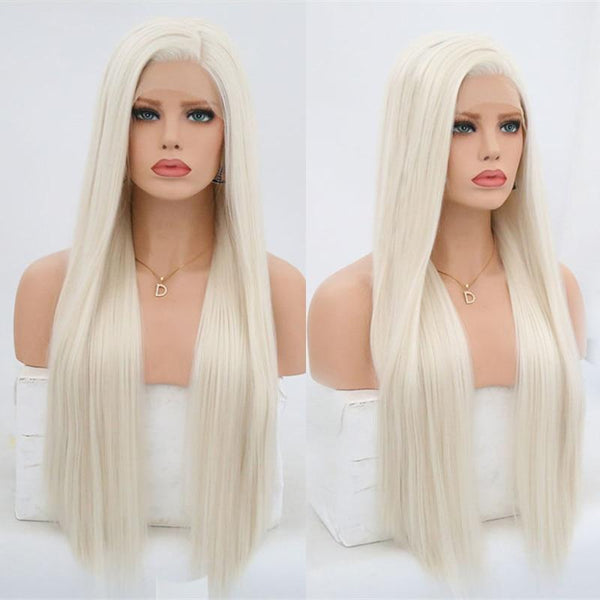 Synthetic Wig, Blonde Synthetic Lace Front Wigs, Silky, Straight-Wig-online-24inches-hair-extensions-wigs.com