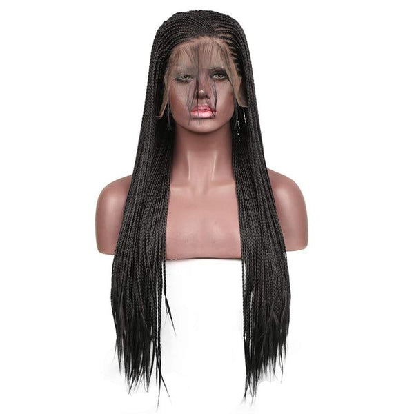 Synthetic Wig, Braided Wig, 13x6 Lace Front Wig, Black-Wig-online-18inches-hair-extensions-wigs.com