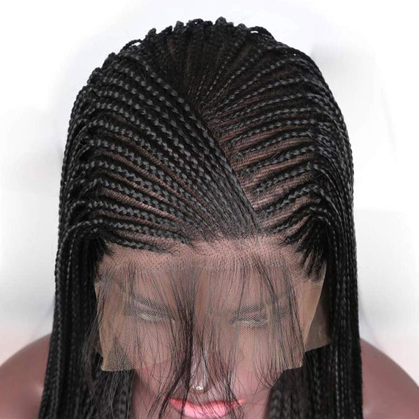 Synthetic Wig, Braided Wig, 13x6 Lace Front Wig, Black-Wig-online-hair-extensions-wigs.com