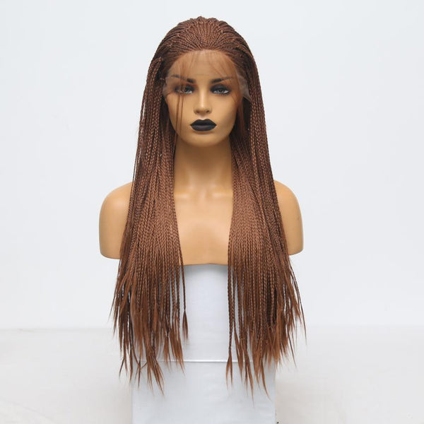 Synthetic Wig, Braided Wig, Brown Lace Front Wig-Wig-online-18inches-hair-extensions-wigs.com