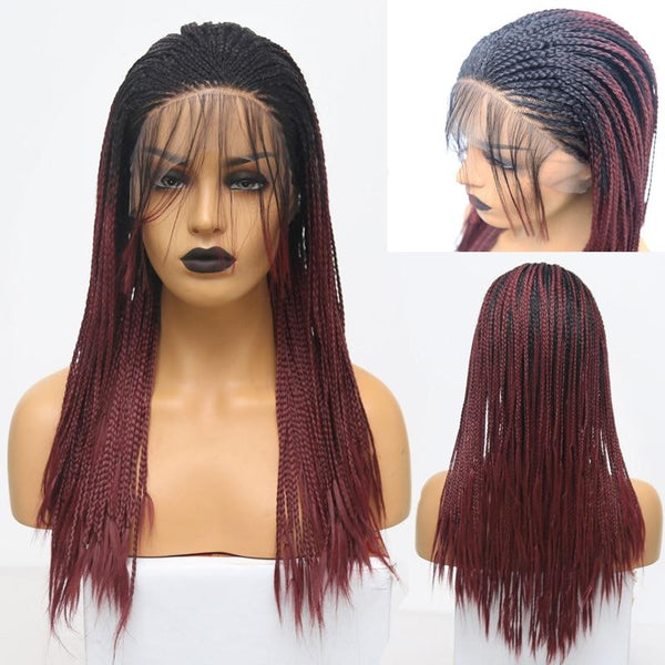 Synthetic Wig, Braided Wig, Lace Front Wig, Burgundy-Wig-online-hair-extensions-wigs.com