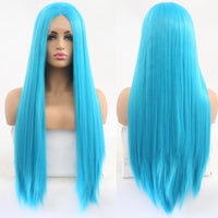Synthetic Wig, Glueless Blue Lace Front Wig-Wig-online-26inches-hair-extensions-wigs.com