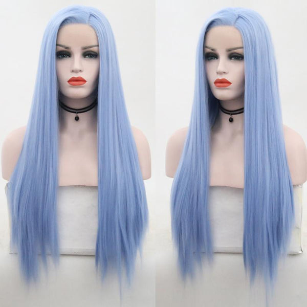 Synthetic Wig, Light Blue Synthetic Lace Front Wig-Wig-online-22inches-hair-extensions-wigs.com