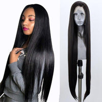 Synthetic Wig, Straight Lace Front Wig, Black-Wig-online-24inches-hair-extensions-wigs.com