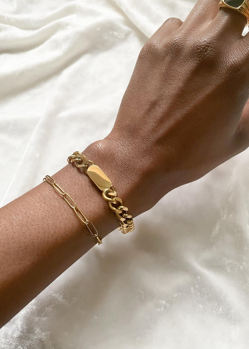 Thick Curb Chain 18K Gold Plated Bracelet