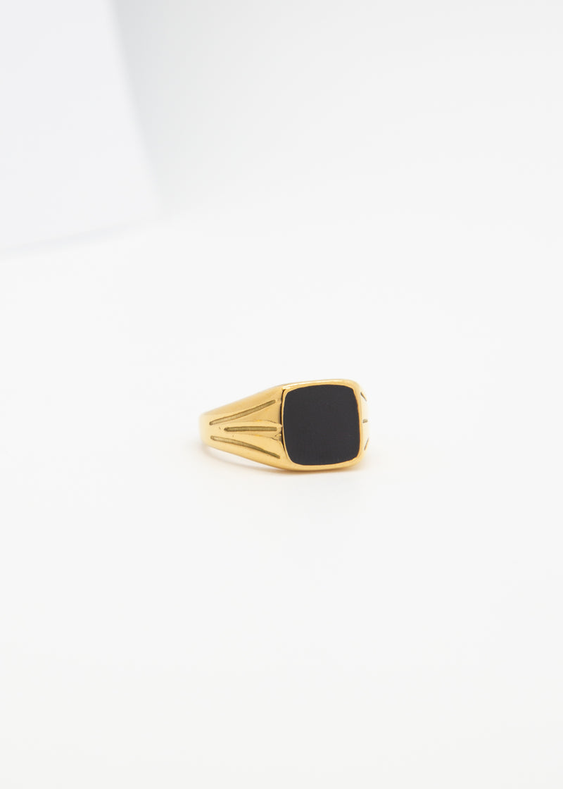 Power 18K Gold and Black Signet Ring
