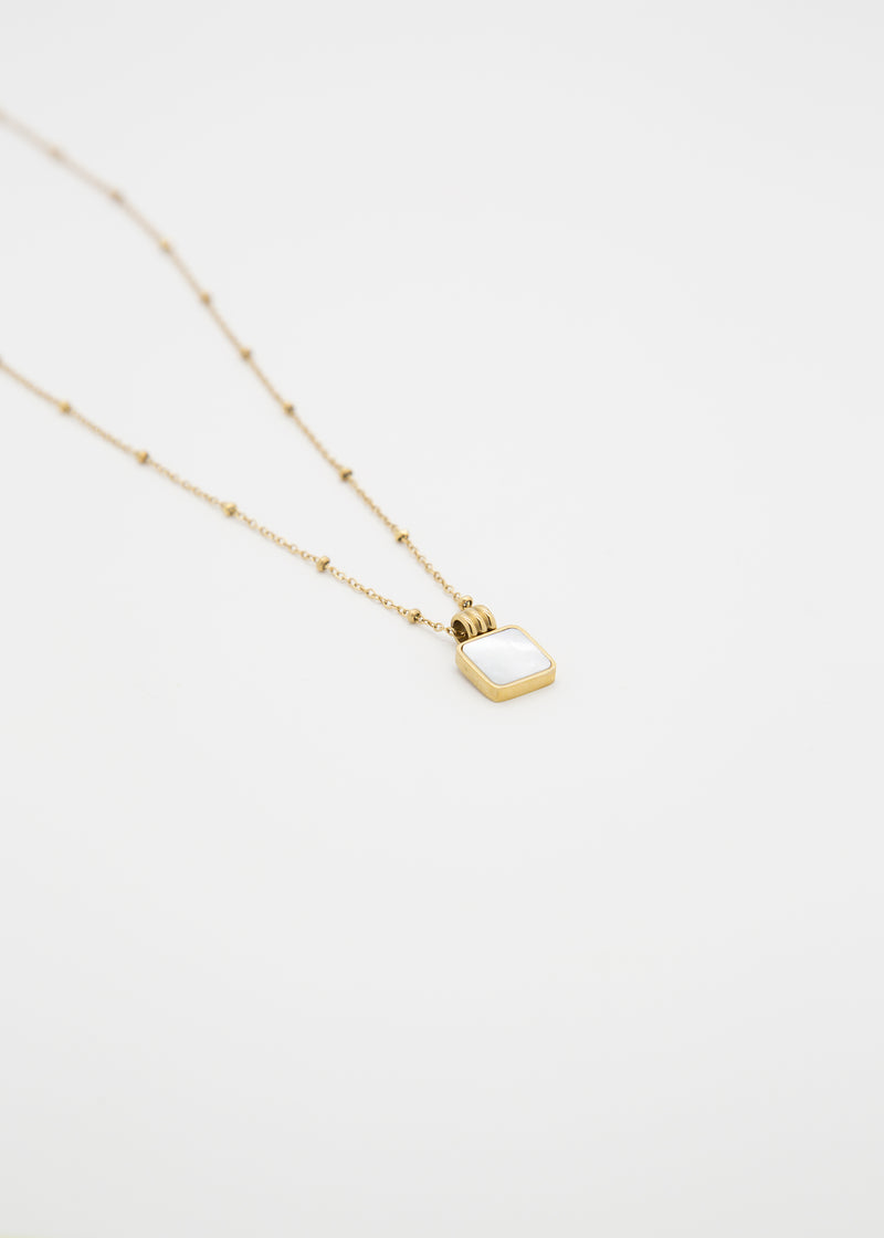 Iridescent 18K Gold Pendant Necklace