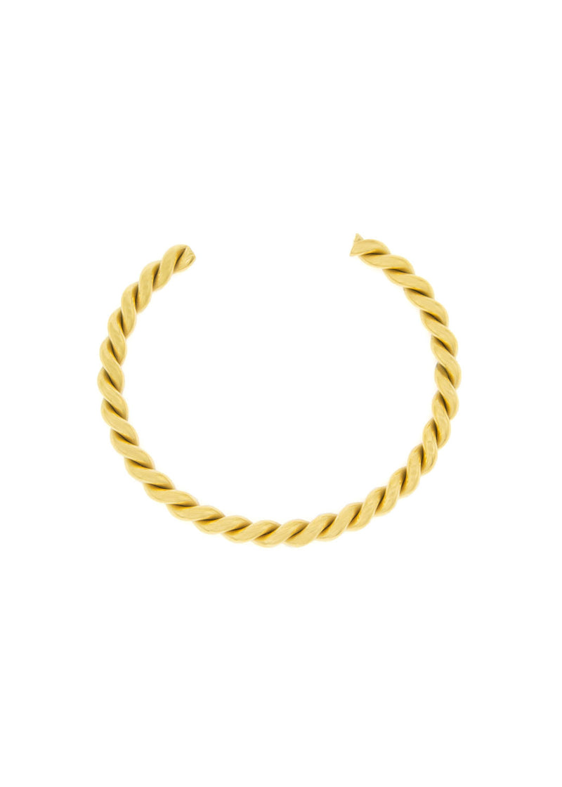 Spiral 18K Gold Plated Open Bangle Bracelet