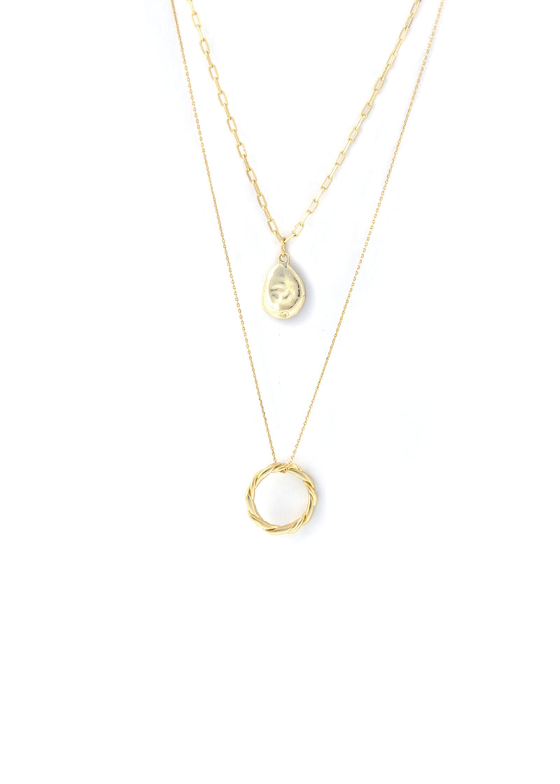 Ripple & Twist 18K Gold Plated Layer Pendant Necklace