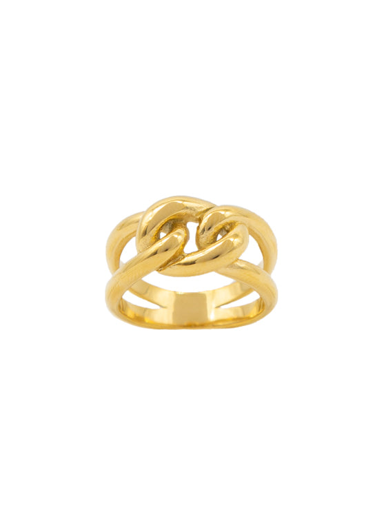 Curb chain 18K Gold Plated Ring