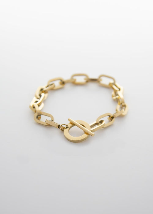 Interlock Cable 14K Gold Plated Bracelet