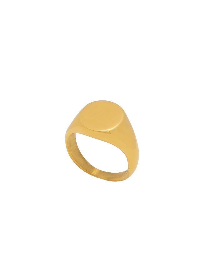 Laddish 18k Gold Plated Thick Signet Ring
