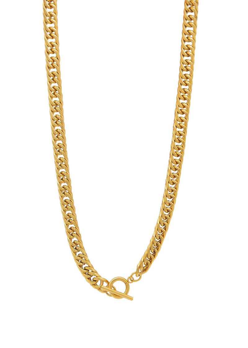 Majestic 18K Gold Plated Thick Interlock Bar Necklace