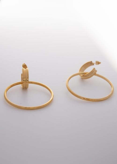 Paris 18K Gold Plated Double Hoop Earrings