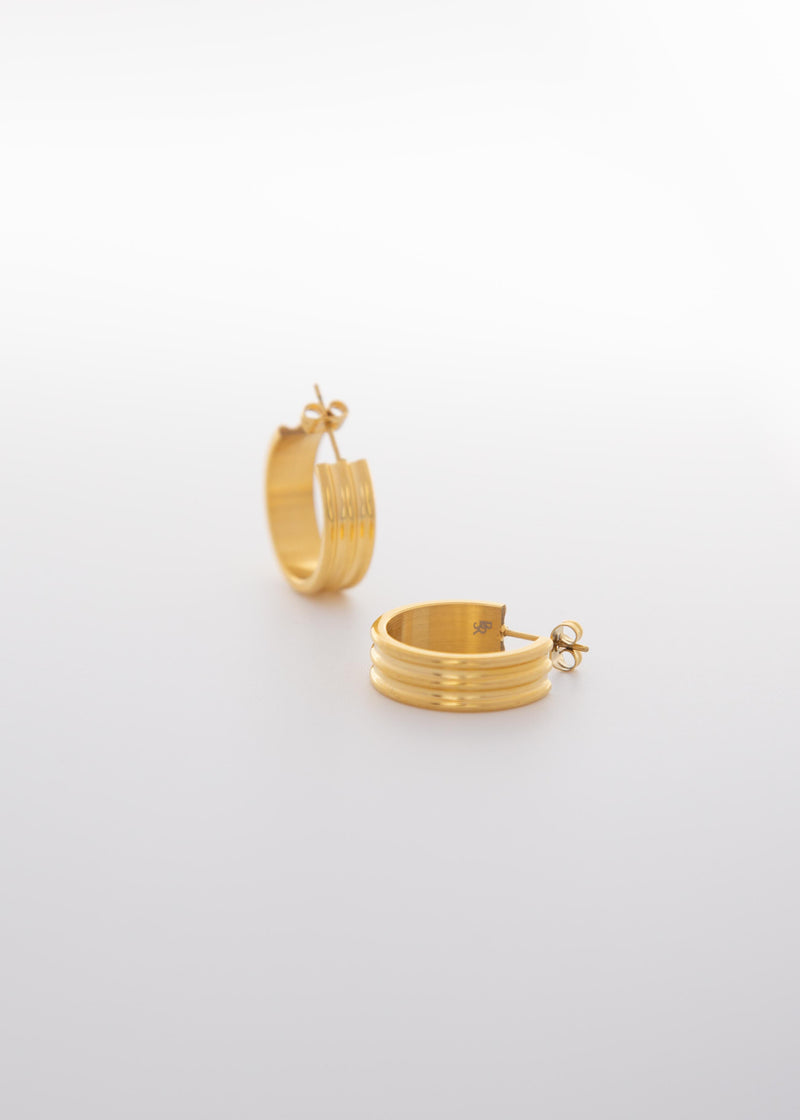 City XL 18k Gold Plated Thick Open Hoop Earrings