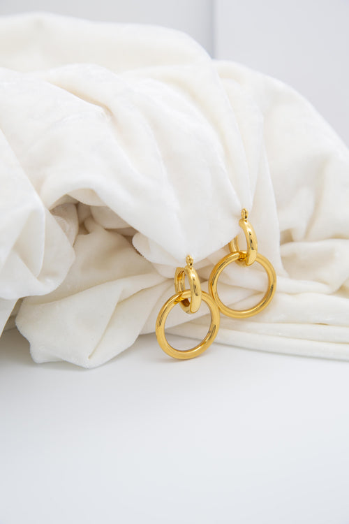 Avant 18K Gold Plated Double Hoop Earrings