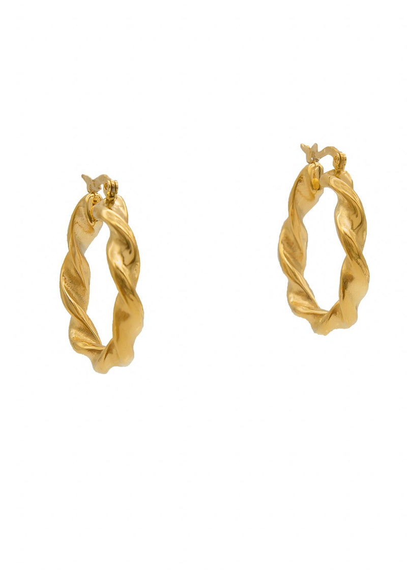 Illusion 18K Gold Plated Thick Twisted Hoop Earrings
