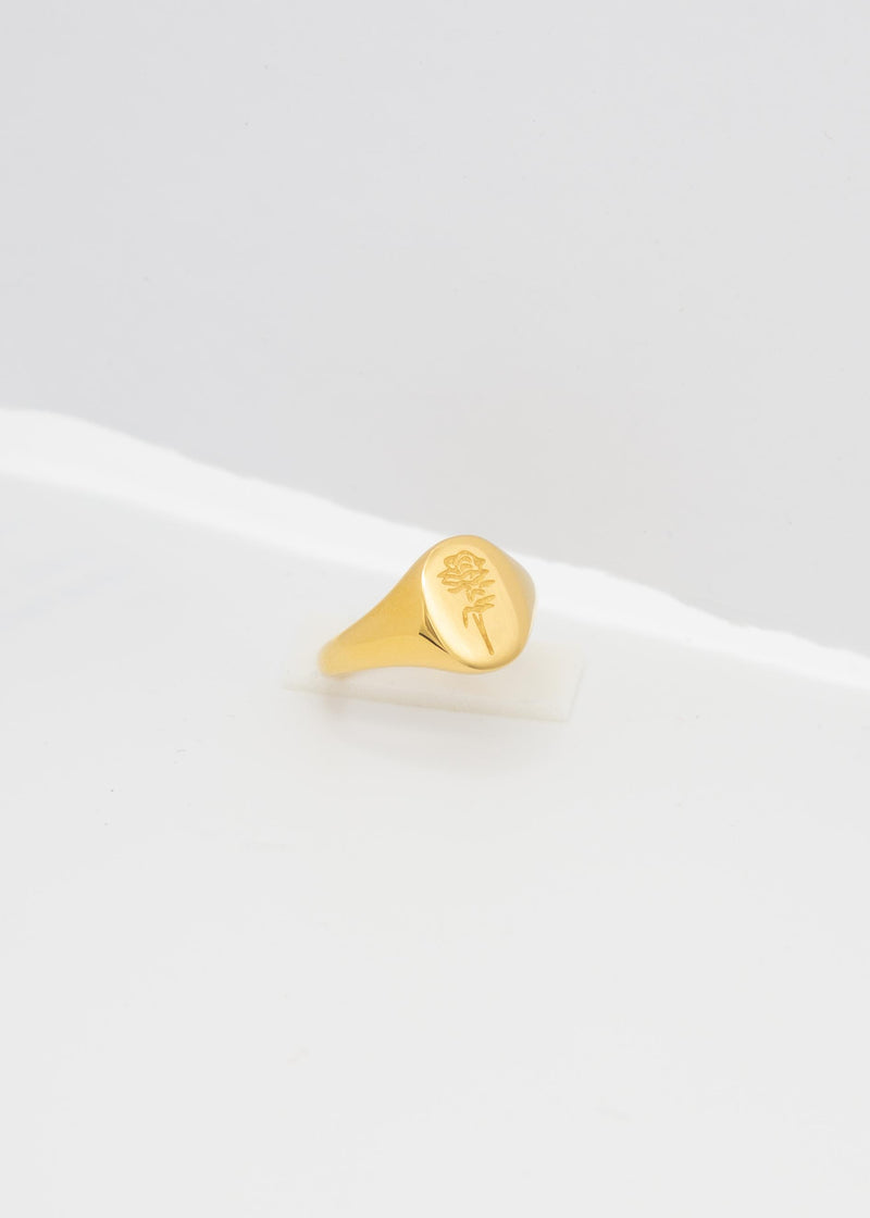Rose 18K Gold Plated Signet Ring