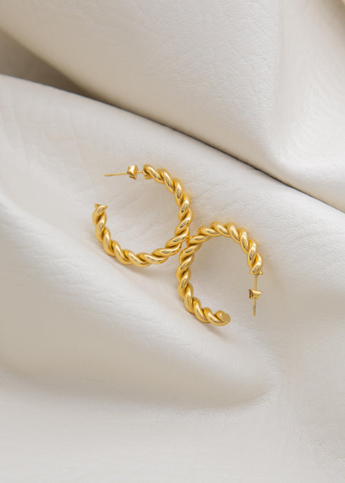 Spiral 18K Gold Plated Open Hoop Twisted Earrings