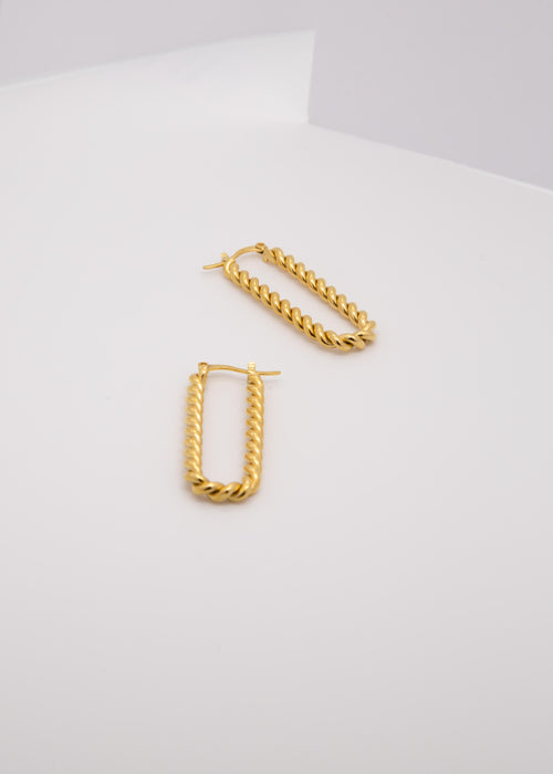 Spiral Dip 18K Gold Plated Twisted Earrings
