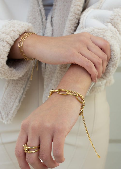 Synergy 18K Gold Plated Double Layer Chain Bracelet