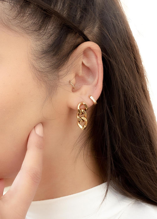 Cuban Chain 18K Gold Plated Gold Earrings