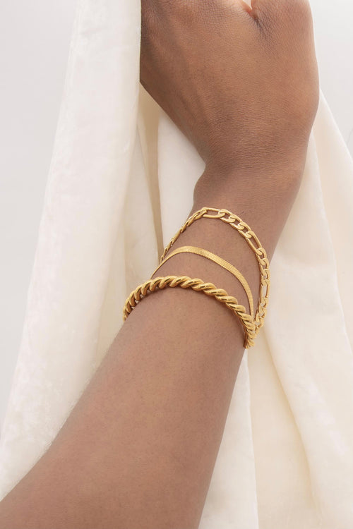 Herringbone 18K Gold Plated Thin Chain Bracelet