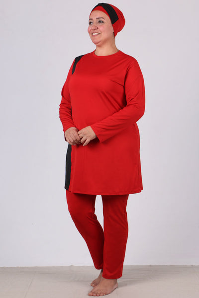 Women's Oversize Long Sleeves Red Modest Swimwear